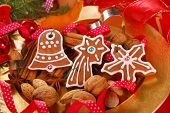 Plate With Gingerbread Cookies And Spices For Christmas