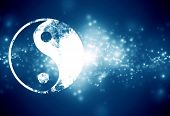 image of karma  - yin yang sign on a dark blue background - JPG
