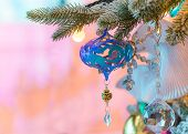 Variuos Colorful Ornaments Decorated On A Christmas Tree