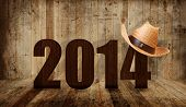 stock photo of headgear  - Western happy new year 2014 - JPG