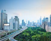 Shanghai Skyline And Elevated Road