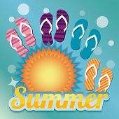 Summer background with sun and flip flops, vector