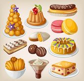 stock photo of eclairs  - Set of traditional french desserts and bakery - JPG