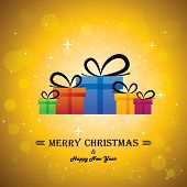 Merry Christmas & Happy New Year With Gifts - Concept Vector