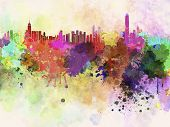 Hong Kong Skyline In Watercolor Background