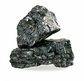 Pieces Of Coal Isolated On White