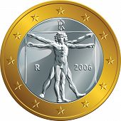 picture of leonardo da vinci  - Italian money gold coin euro with the image of Vitruvian Man by Leonardo da Vinci - JPG