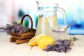 Lavender lemonade, on bright background