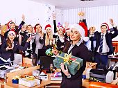 stock photo of office party  - Happy business group people in santa hat at Xmas party - JPG