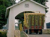 Big Hay Truck Crossing Covered Bridge