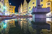 FUSSEN, GERMANY - SEPTEMBER 26: Reichenstrasse September 26, 2013 in Fussen, Germany. The city was o