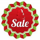 Christmas sale, special offer label. Paper tree.