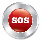 Sos button. Metallic icon on white background.