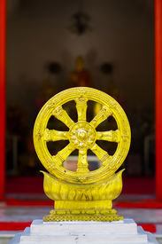foto of dharma  - Dharmachakra, the wheel of law, symbol of dharma of Buddhism