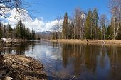 Spring Landscape Inzer River South Ural