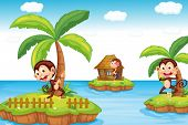 Illustration of monkeys at the beach