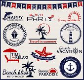 Summer And Sea Labels, Symbols And Emblems. Vector Design Elements.