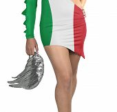 Futuristic Young Woman With Flag From Italy On Her Dress