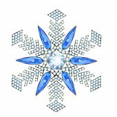 stock photo of brooch  - Brooch in the form of a snowflake made of precious stones - JPG