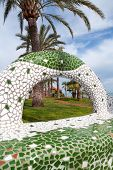 Oropesa del Mar Castellon gardens in the beach with tiles mosaic bench Spain