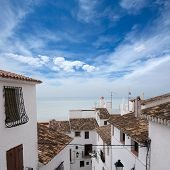 Peniscola downtown old white village Mediterranean houses in Castellon Spain