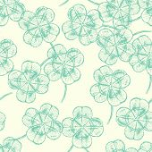 Sketch Clover, Vector  Seamless Pattern, Saint Patrick Day Symbol