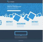 Vector  website. Abstract blue brochure squares