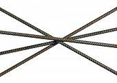 Reinforcement Steel Bars Lying Crosswise Isolated