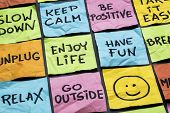 relax, keep calm, enjoy life and other motivational lifestyle reminders on colorful sticky notes