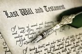 stock photo of trust  - Last Will and Testament document with quill pen and handwriting - JPG