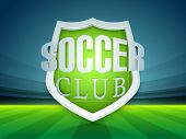 Glossy trophy for soccer ball winner with stylish text soccer club on stadium background.