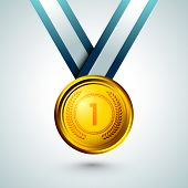 Gold medal with stylish text numeric one on blue background.