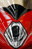 Red Motorcycle Headlight