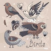 stock photo of chickadee  - Vector set birds and hearts - JPG