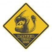 warning sign. danger signal with gorilla. eps8