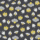 yellow gray flowers on dark seamless pattern