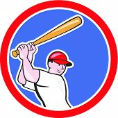 picture of hitter  - Illustration of an american baseball player batter hitter batting with bat done in cartoon style isolated on white background set inside circle - JPG