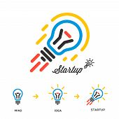 Start up business concept network, bulb-rocket