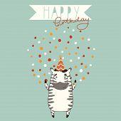 Happy Birthday card background with zebra