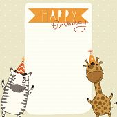 Happy Birthday card background with zebra and giraffe