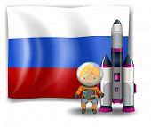Illustration of a Russian flag with an explorer beside a rocket on a white background