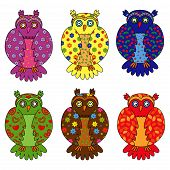 Set Of Six Stylized Owls