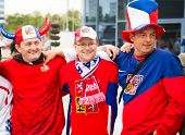 Minsk, Belarus - May 11 - Czech Fans In Front Of Chizhovka Arena On May 11, 2014 In Belarus. Ice Hoc