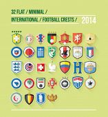 International football crest vector for 2014 on green background