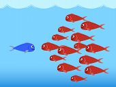 pic of fish  - Illustration of competition between the red fishes and the blue fish - JPG
