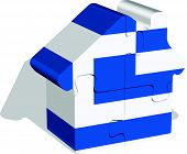 house home icon with greek flag in puzzle