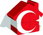 house home icon with turkish flag in puzzle