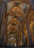 Arcade With Fan Vault Ceiling, Barcelona Cathedral, Spain.