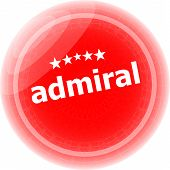 Admiral Word Red Stickers, Icon Button, Business Concept