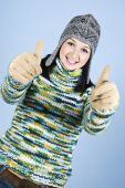 Successful Girl In Wool Sweater Give Thumbs
